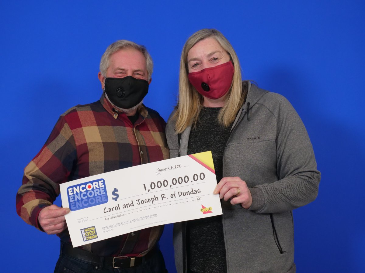 Carol and Joe Ridsdale matched all seven ENCORE numbers in exact order in the Dec. 26 LOTTARIO draw.
