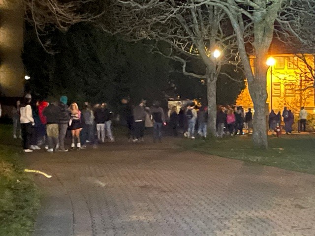 Police say around 100 people were gathered near UVIC campus Saturday night.