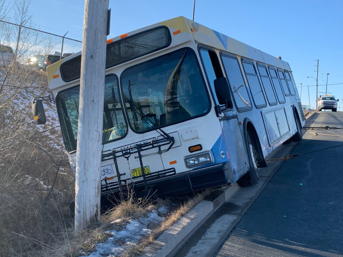 Officials say there were no major injuries after a Halifax Transit bus veered off of Walker Ave. in Lower Sackville on Jan. 13, 2021.