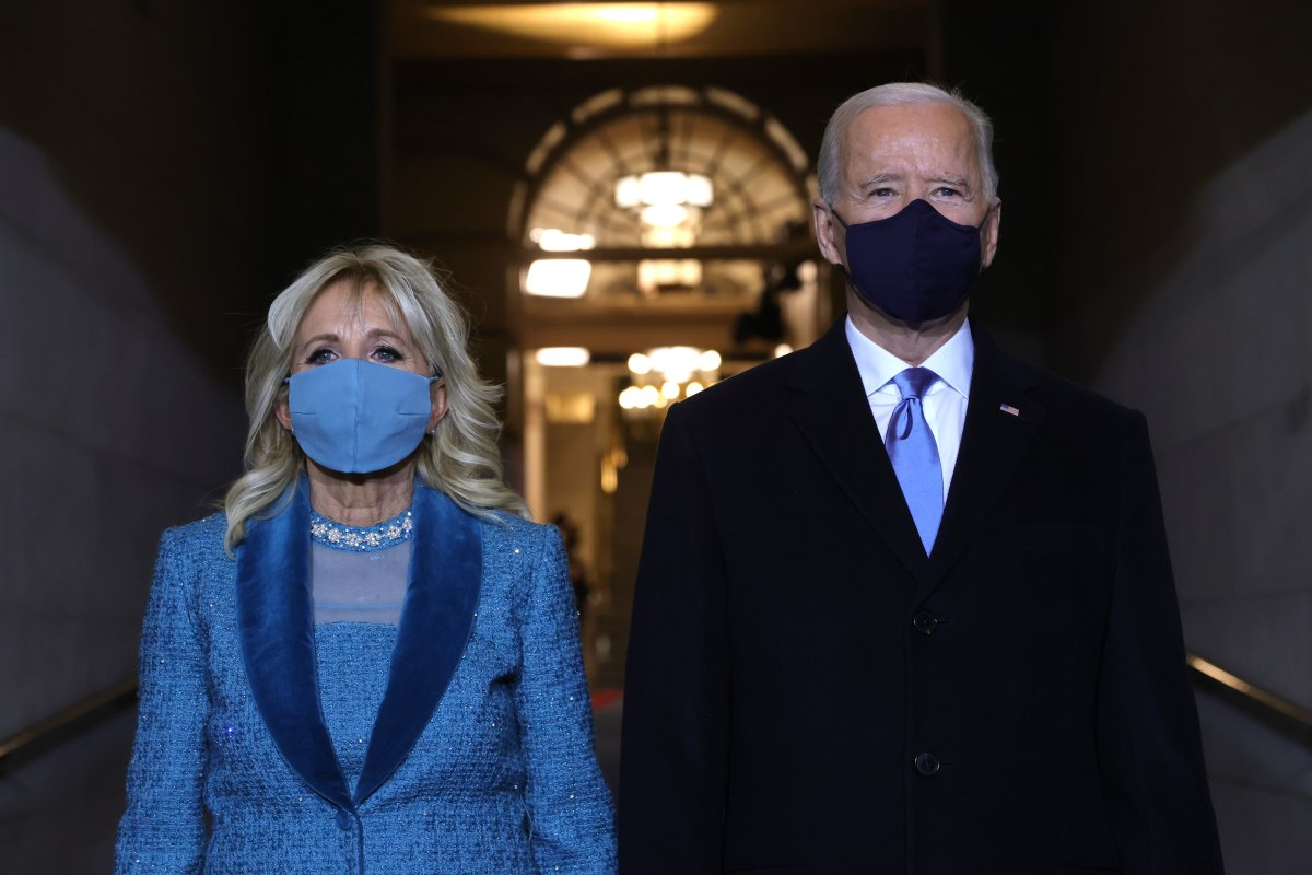 WASHINGTON, DC - JANUARY 20: U.S. President-elect Joe Biden and Jill Biden arrive at his Biden's inauguration on the West Front of the U.S. Capitol on January 20, 2021 in Washington, DC.  During today's inauguration ceremony Joe Biden becomes the 46th president of the United States. (Photo by Win McNamee/Getty Images).