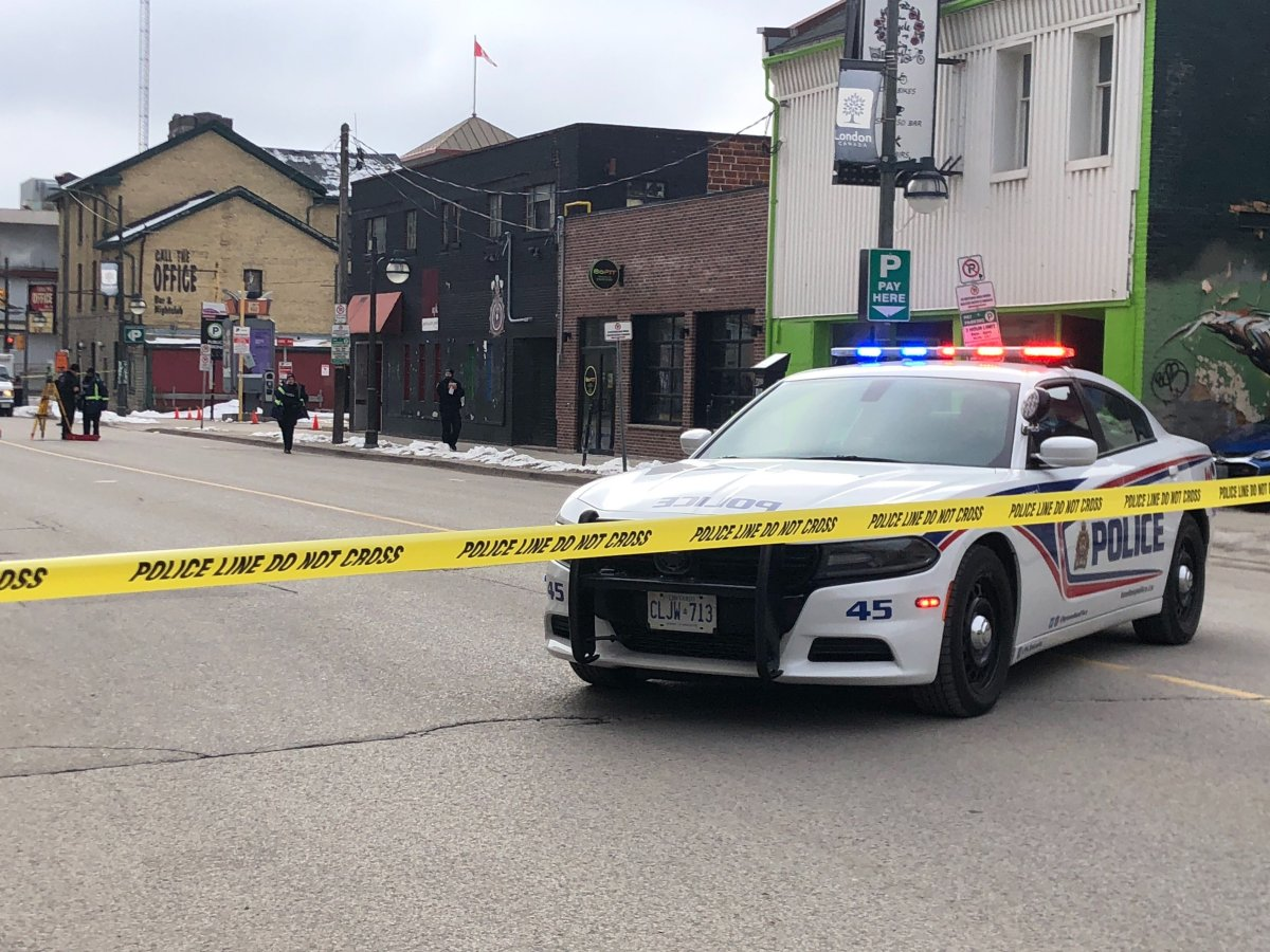 London police block off Clarence Street between King and York streets as officers investigate a crash from Friday morning.