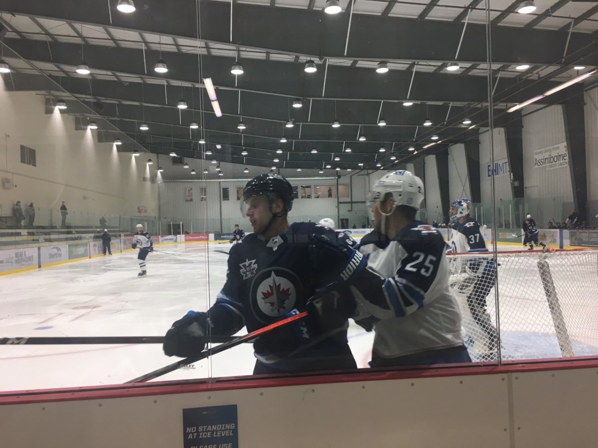Team Blue edged Paul Stastny, Connor Hellebuyck and Team White 3-2 in what might be the only scrimmage of Winnipeg Jets training camp. Kelly Moore/Global News .