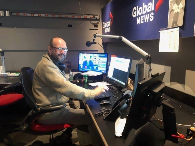 John Copsey is pictured here in the Global News Radio newsroom in Burnaby, B.C.