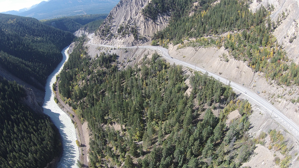 A photo showing Kicking Horse Canyon, located east of Golden, B.C. On Friday, the Ministry of Transportation announced that section of the Trans-Canada will undergo a major construction upgrade. The shutdown will run April 12 to May 14. Motorists can expect to add 90 minutes of extra travel time via a long detour.