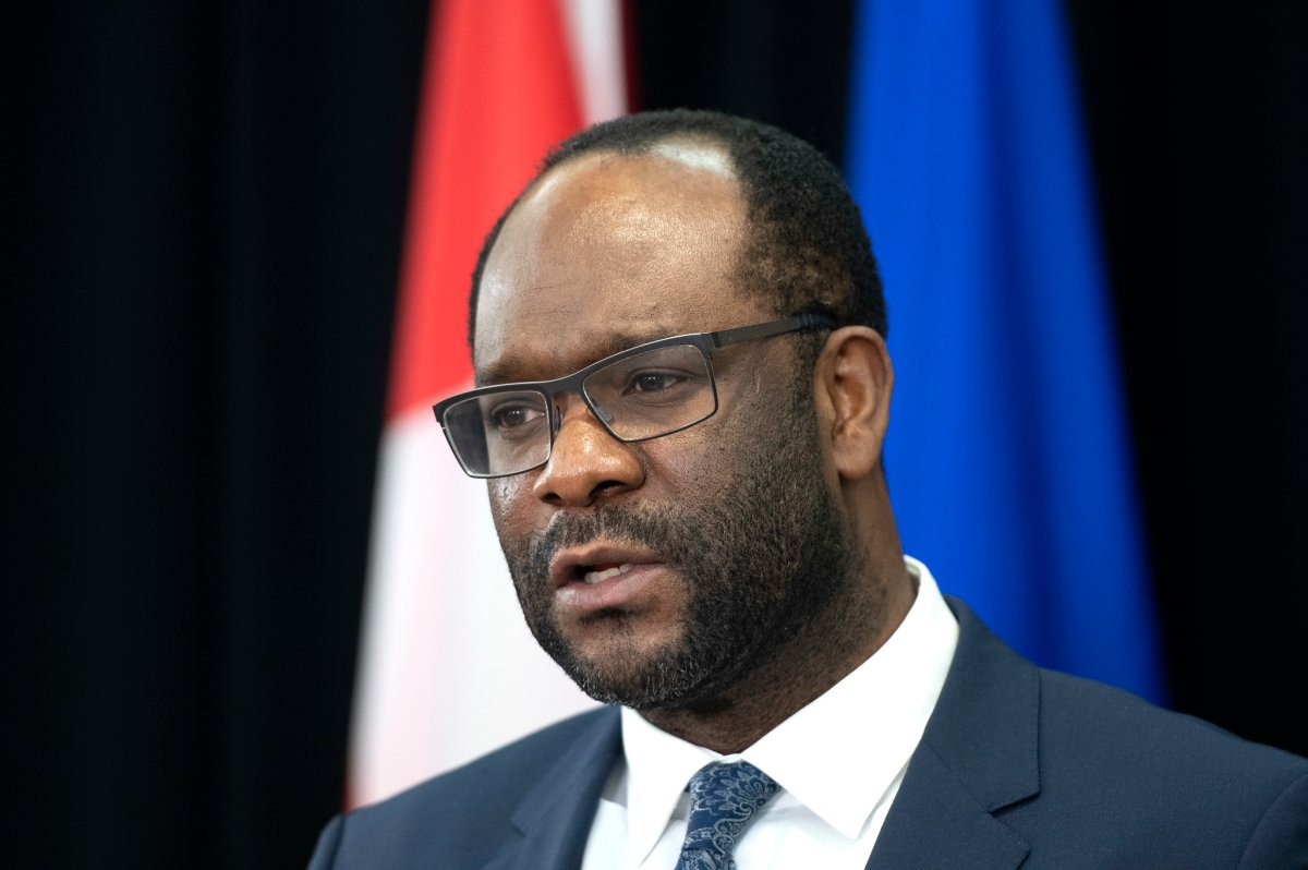 Alberta Justice Minister and Solicitor General Kaycee Madu speaking at an Alberta Parole Board update news conference in Edmonton, Alta. on Thursday, January 28, 2021.