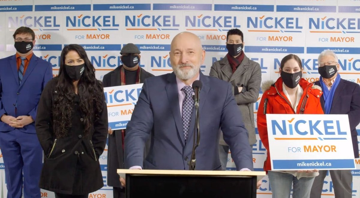 Edmonton councillor Mike Nickel announcing his intention to run for mayor of Edmonton on Friday, January 22, 2021.