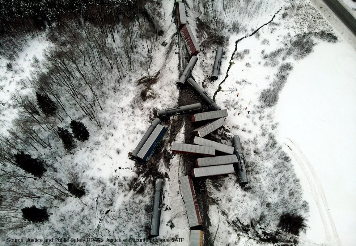 A CN Rail train has derailed in the area of Haut-Madawaska in New Brunswick on Jan. 25.