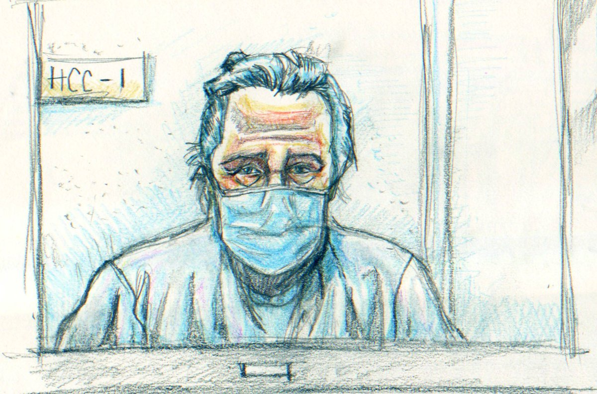 Peter Nygard appears over video in this courtroom sketch on Jan. 6, 2021.