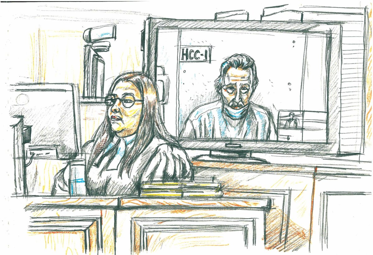 Peter Nygard, background, appears in a Manitoba courtroom by video link on Wednesday, Jan. 6, 2021.