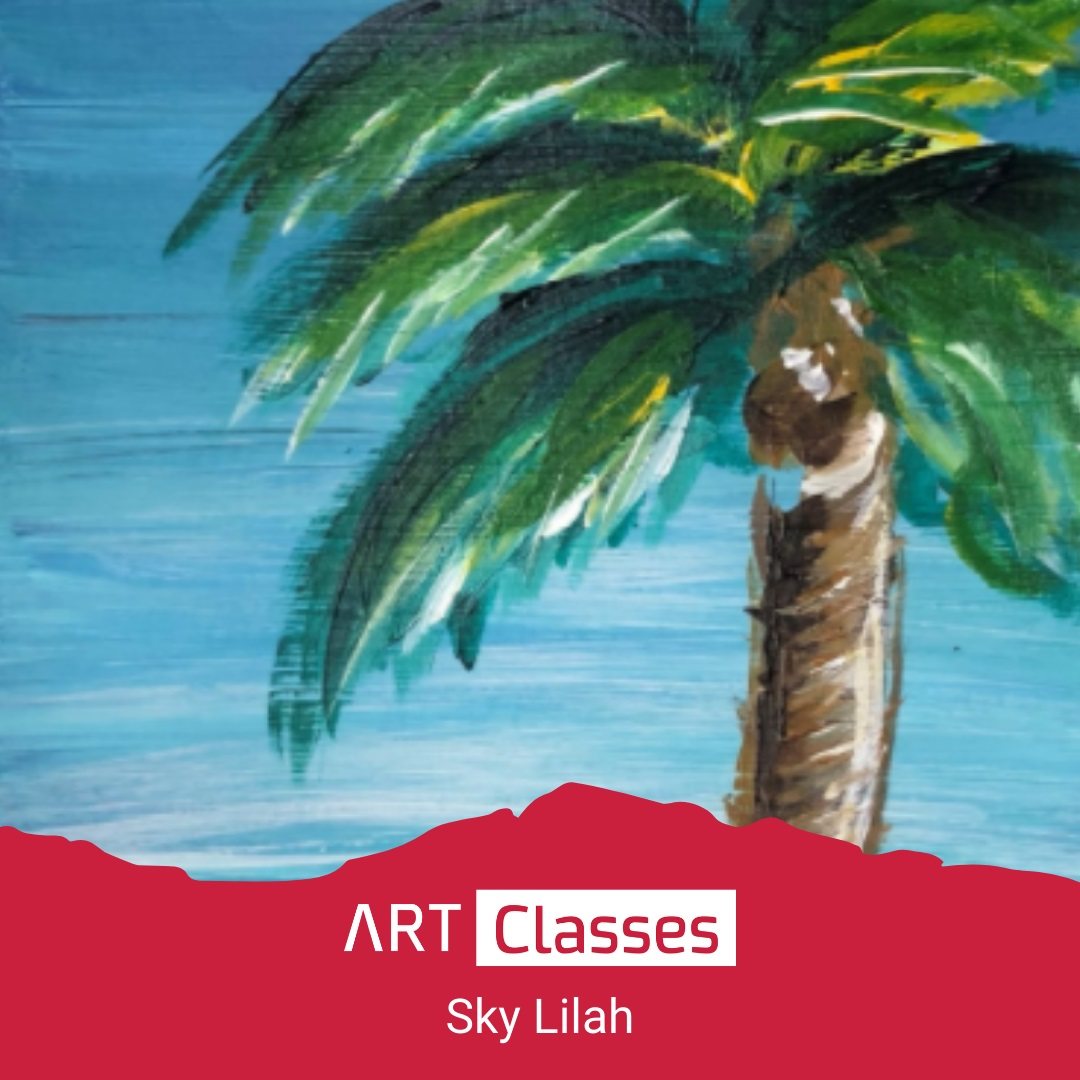 Come paint a beautiful palm tree overlooking the ocean on a bright cloudless day. Join Sky Lilah and learn how to paint with a palette knife and build dimension through layers and lots of colours. No artistic experience required!.