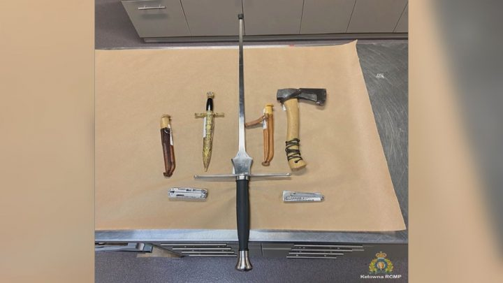 Kelowna RCMP say they seized these weapons from a man in downtown Kelowna.