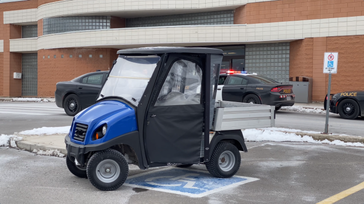 A golf cart is seen outside of Mapleview Mall in Burlington.