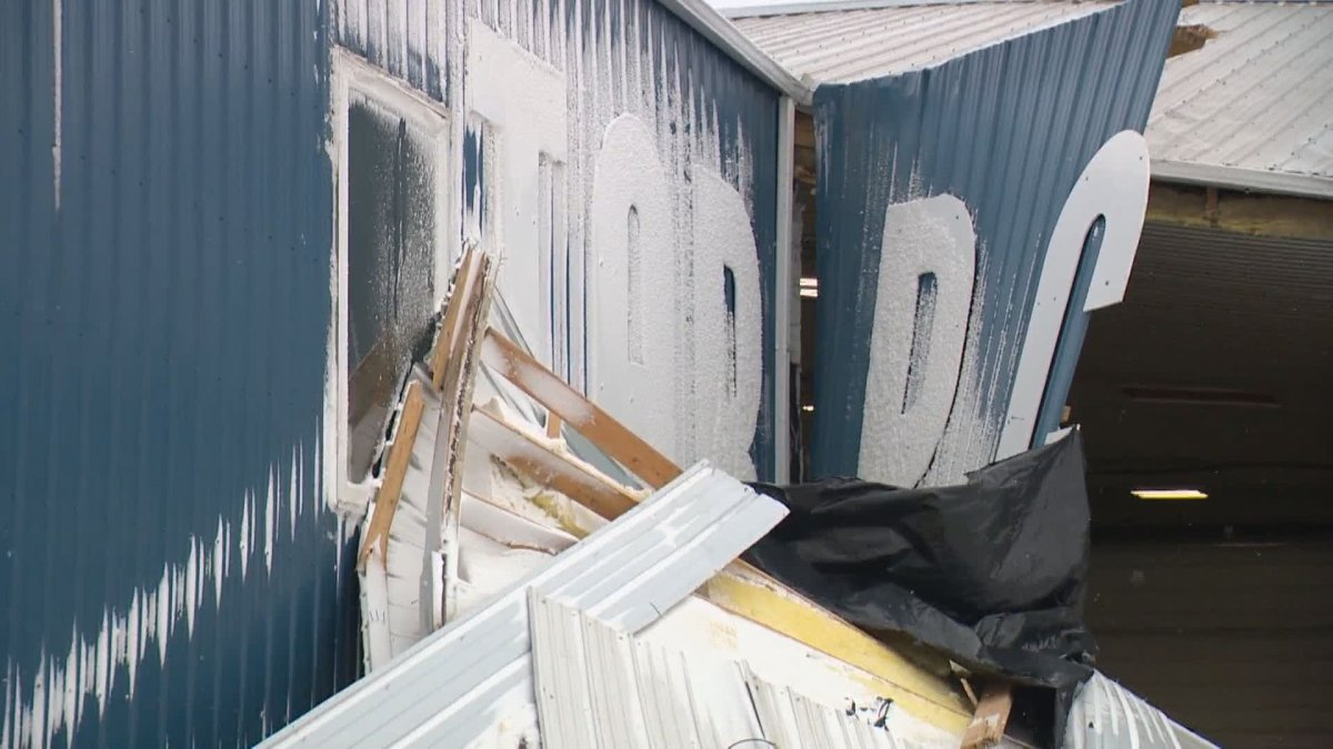 Tarpco Manufacturing in Milestone, Sask. following Wednesday night's wind storm.