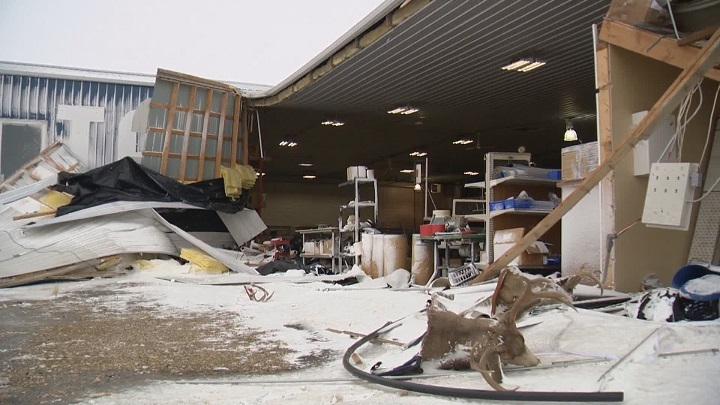 Alex Getzlaf's Tarpco Manufacturing business in Milestone, Sask. following Wednesday night's winter storm.