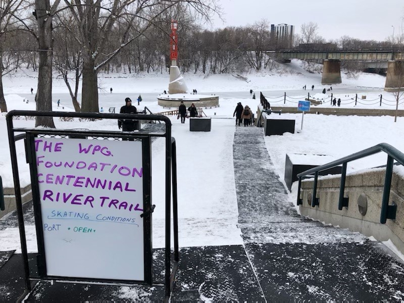 Skaters are enjoying the river trail at The Forks on January 1, 2021.
