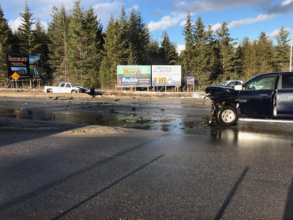 A photo showing two trucks with front-end damage following an accident along the Trans-Canada Highway in the Shuswap region on Wednesday afternoon.