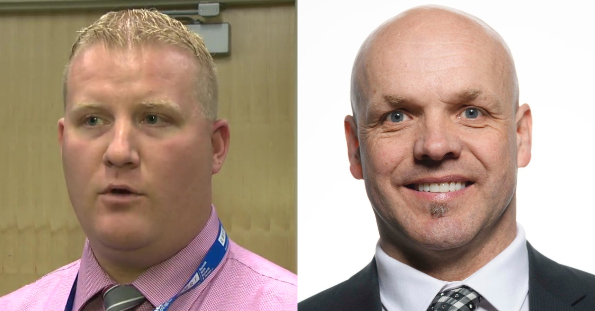 Slave Lake Mayor Tyler Warman, left, and Lesser Slave Lake MLA Pat Rehn, right.