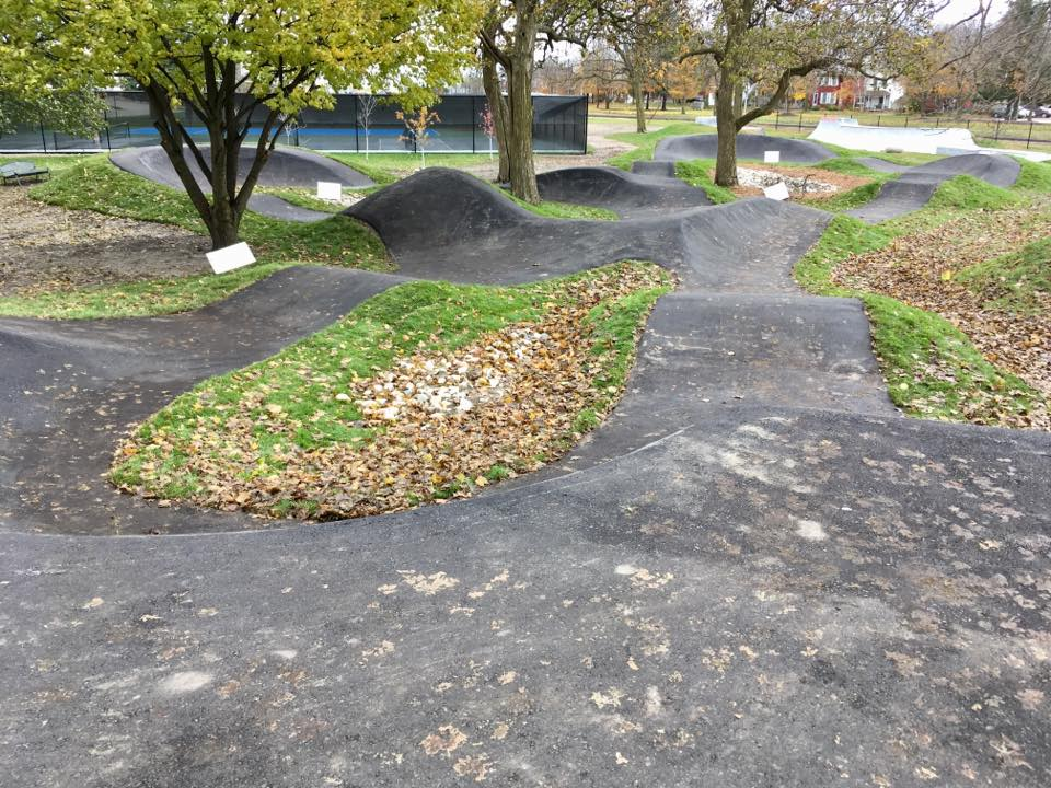 In this photo supplied by Ontarios Transitions Bike Parks, a completed pump track is seen in Stratford, Ontario.