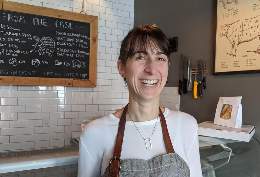 Michelle LeBlanc stands in front of the deli case at Chinched Restaurant and Deli in downtown St. John's in a March, 2020 photo.