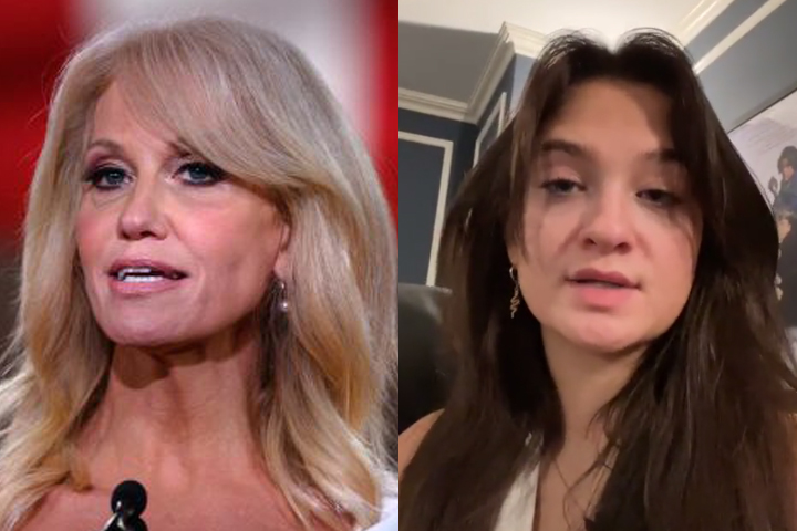 This composite photo shows Kellyanne Conway, left, at the Republican National Convention on Aug. 26, 2020, and Claudia Conway, right, on TikTok Jan. 26, 2021.