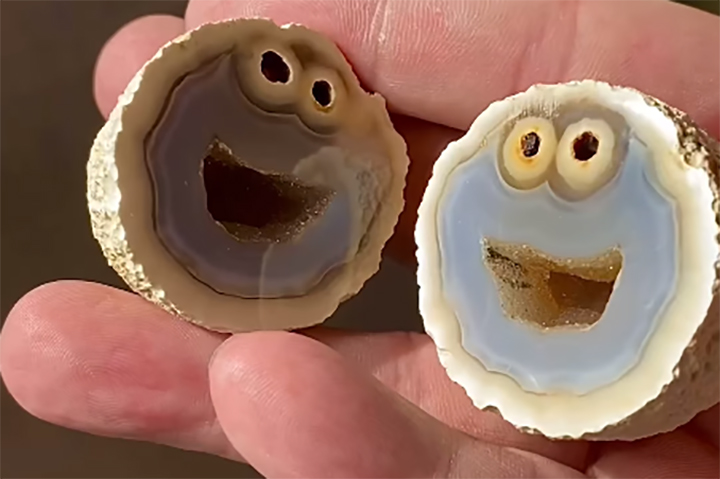 A geode said to look like Cookie Monster from 'Sesame Street' is shown in this image from video posted Jan. 16, 2021.