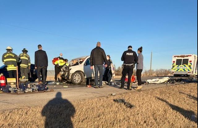 Three people were taken to hospital following a crash near Granum, Alta. on Jan. 9, 2020.