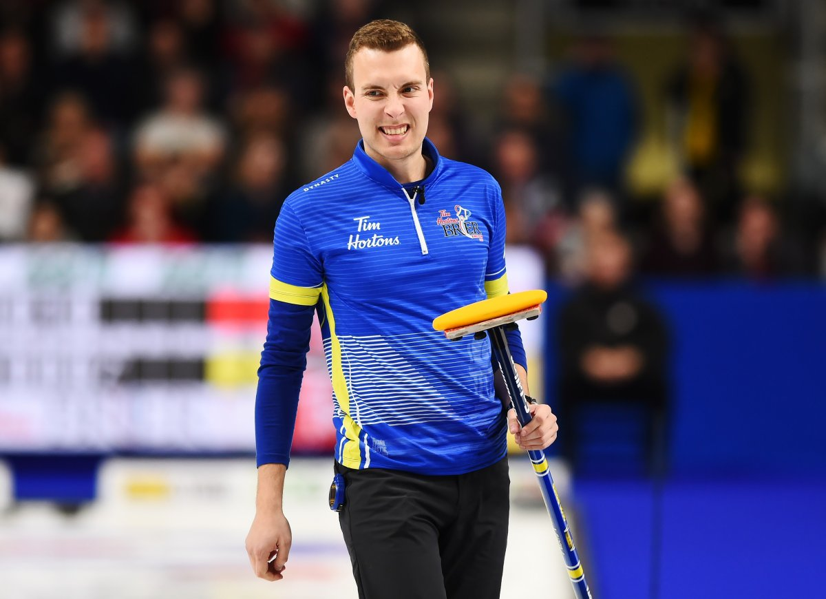 Team Alberta skip Brendan Bottcher reacts during the Brier curling final against Team Newfoundland and Labrador in Kingston, Ont., on Sunday, March 8, 2020.