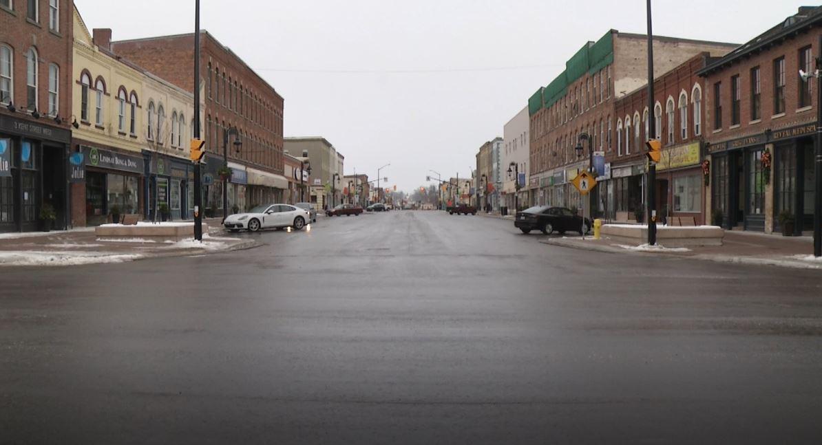 Downtown Lindsay on Jan. 12, 2021.