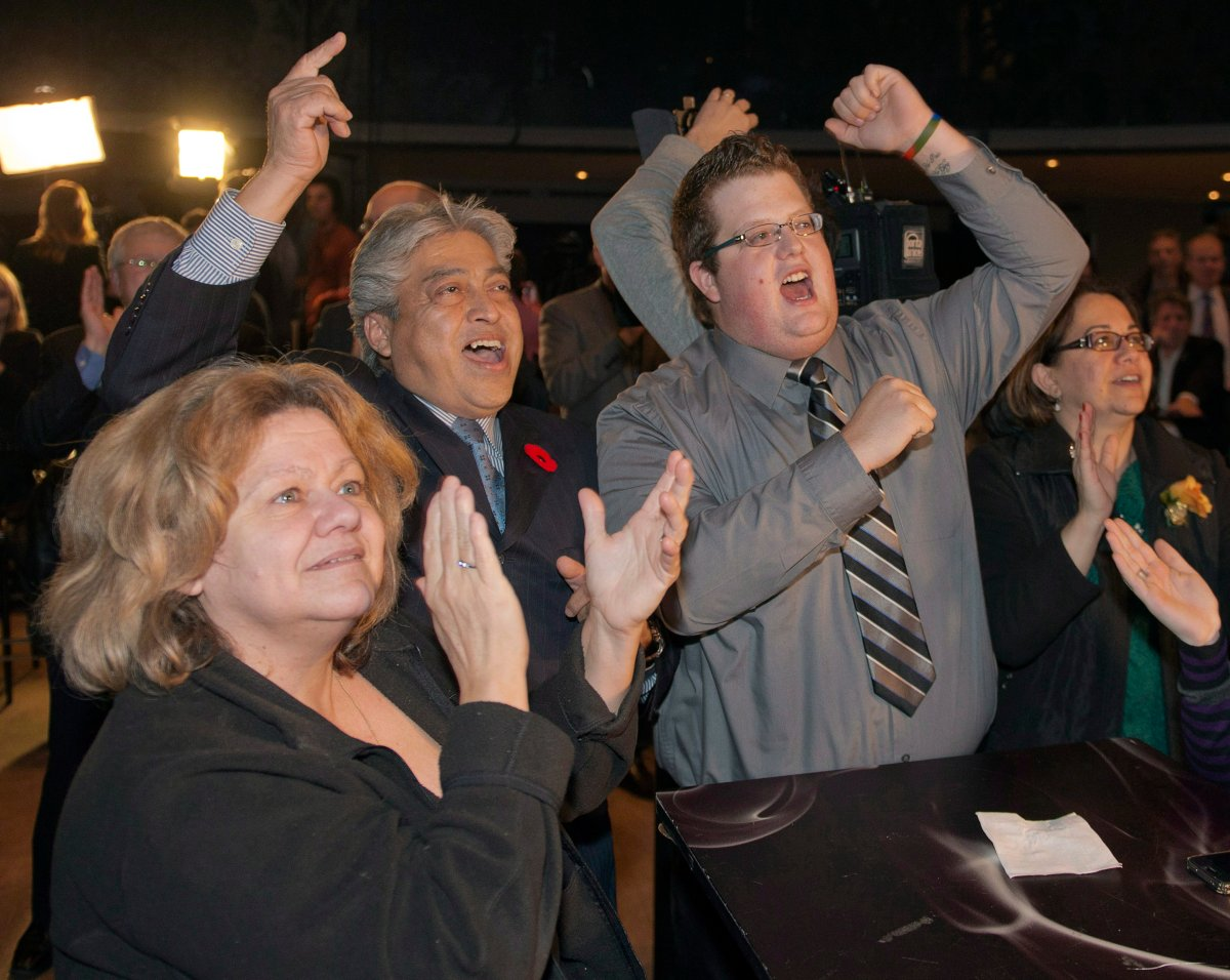 Supporters celebrate  winner of the Montreal mayoral race Sunday, November 3, 2013 in Montreal.