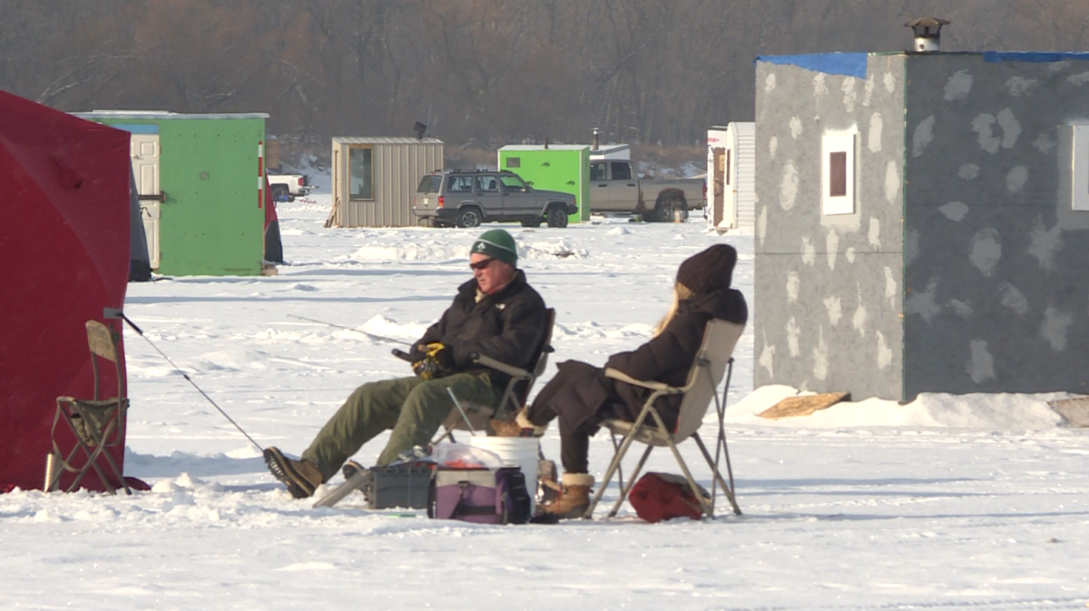 A couple fishing on the Red River near Selkirk on Sunday afternoon.