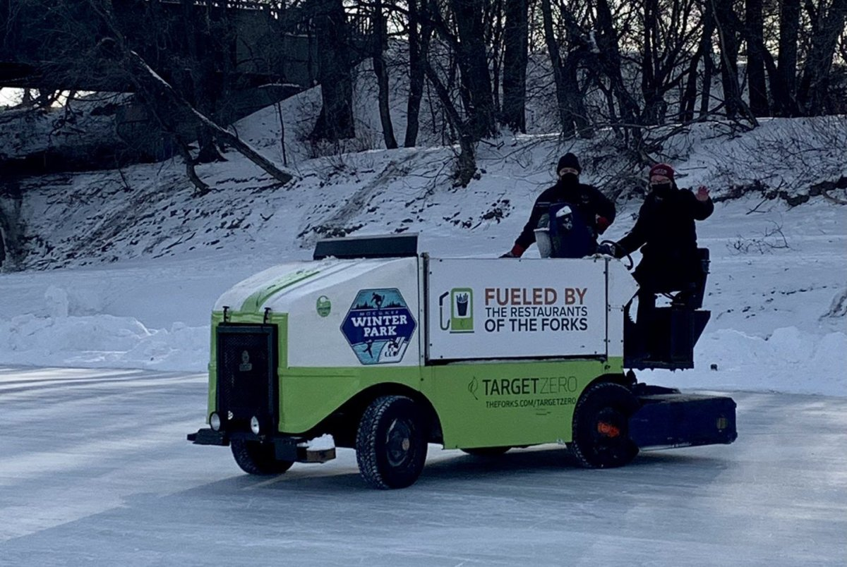 A Zamboni takes to the ice at The Forks for the official opening of the Centennial River Trail.
