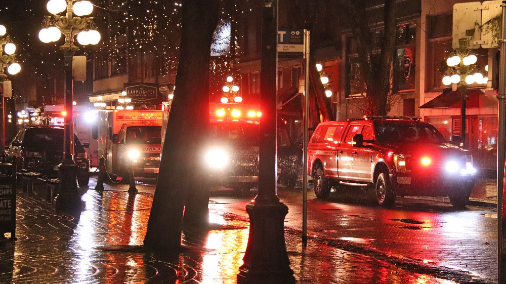 The scene outside the Gastown Hotel in Vancouver after one man was killed and a second was injured in a double stabbing on Jan. 31, 2021.
