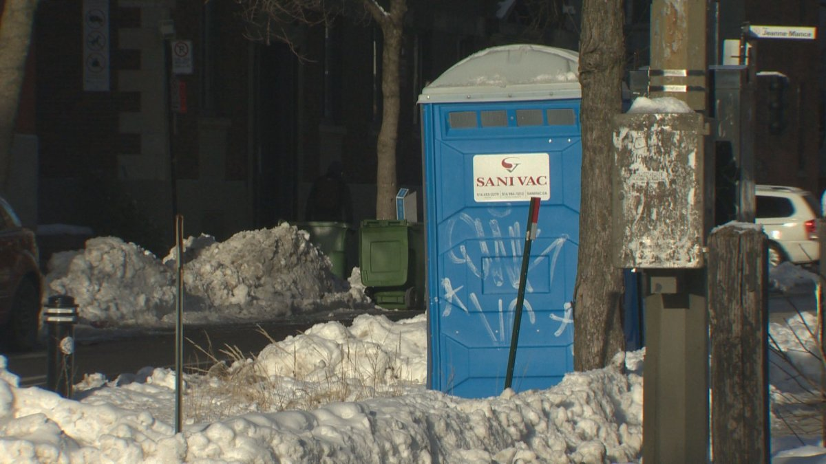 A homeless man was found dead Sunday morning inside a portable toilet at the intersection of Milton Street and Parc Avenue in Montreal's Plateau-Mont-Royal borough.