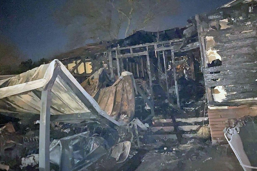 A family home is shown in Waco, Texas, after it burned early on Jan. 15, 2021.