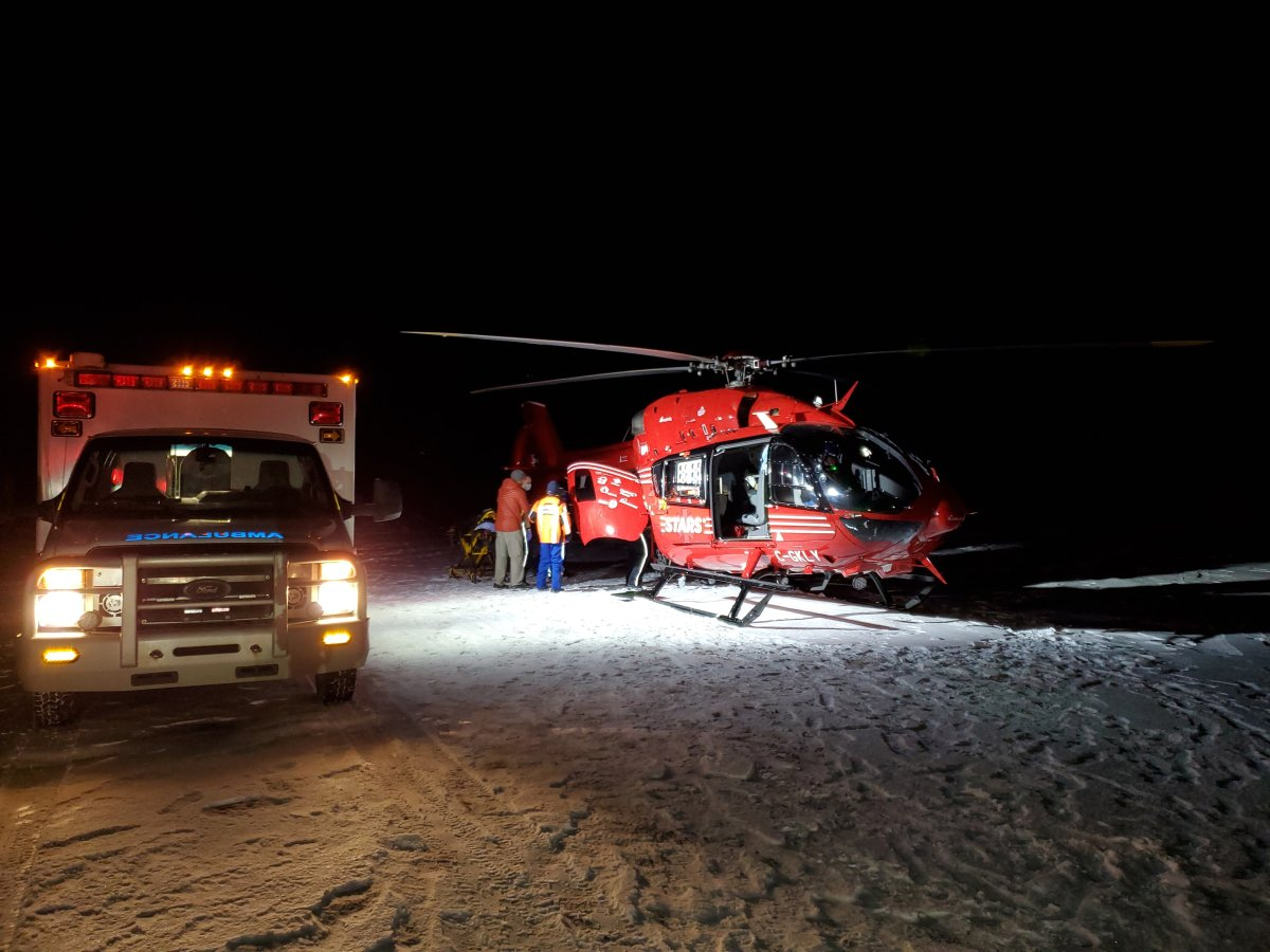 An ice climber is rescued after falling 12 metres in the Alberta Rockies, Friday, Jan. 16, 2021.