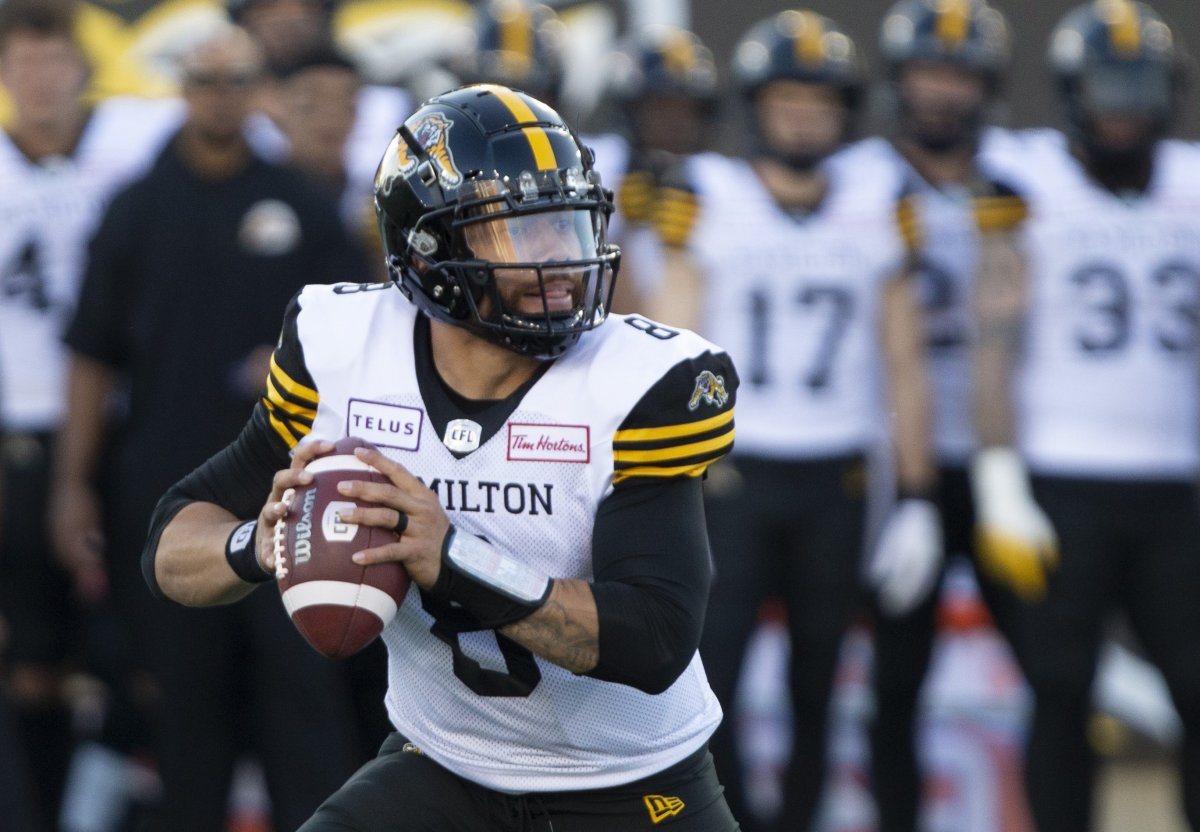 Hamilton Tiger-Cats quarterback Jeremiah Masoli looks downfield for a receiver during first half CFL pre-season football game action against the Toronto Argonauts in Hamilton, Ont. on Thursday, June 6, 2019.