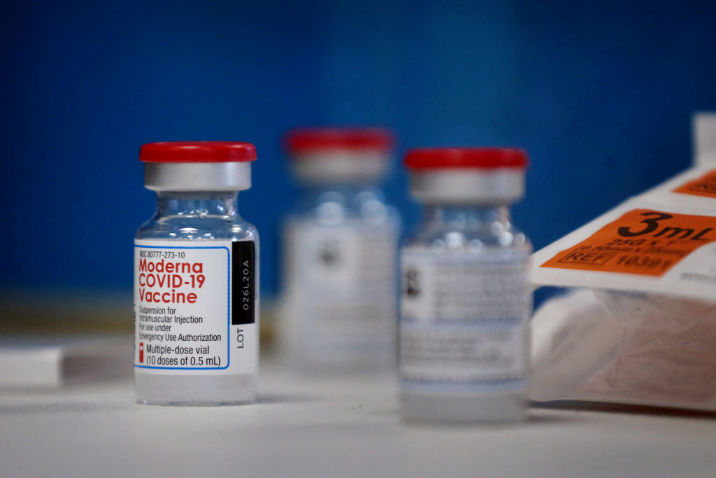 Jars of the Moderna COVID-19 vaccine are shown in this Dec. 30, 2020 file photo.