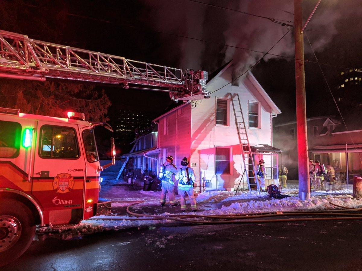 Ottawa fire crews battle a two-alarm blaze on Hinchey Avenue on Jan. 12, 2021.