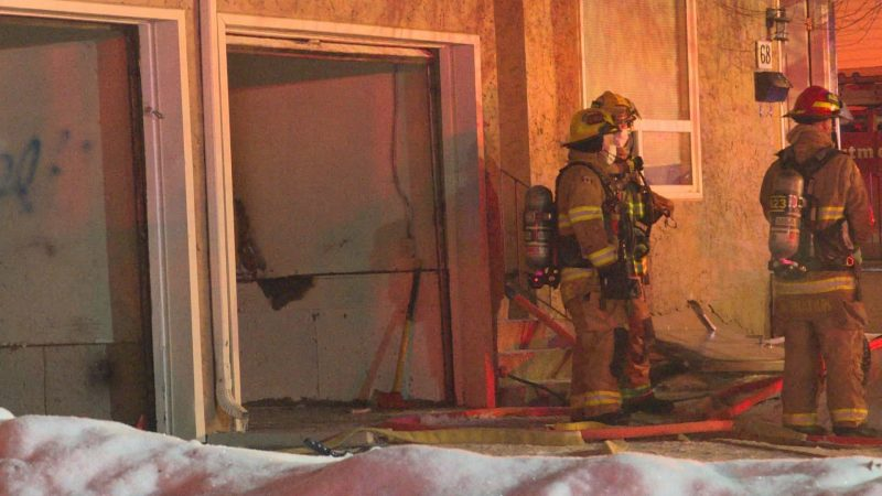 The Calgary Fire Department responds to a fire at the Radisson Village townhouse complex in the 3100 block of Radcliffe Crescent Southeast on Friday, Jan. 29, 2021.