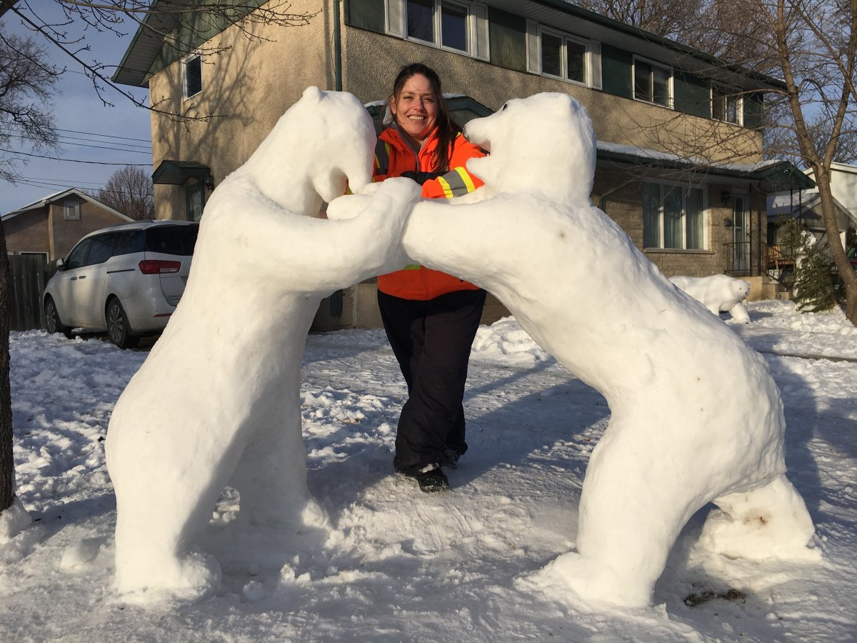 Vinora Bennett with some of her snow creations.