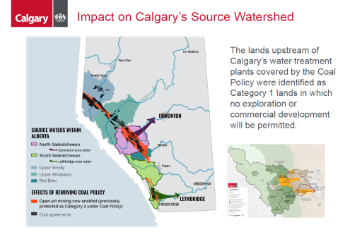 A map of source watersheds in Alberta showing that Calgary's source watershed are not currently affected by Alberta's new coal policies, as shown in a presentation made to committee on Jan. 27, 2021.