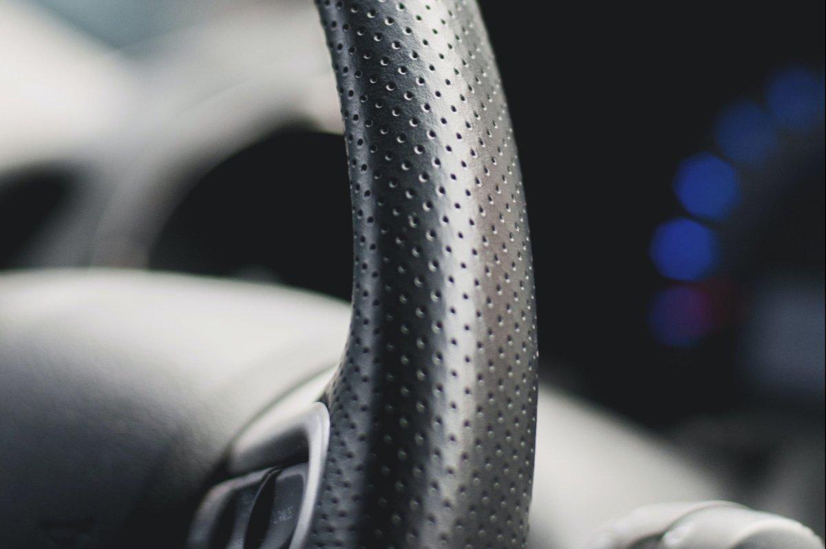 The steering wheel on a vehicle is shown in this file photo.