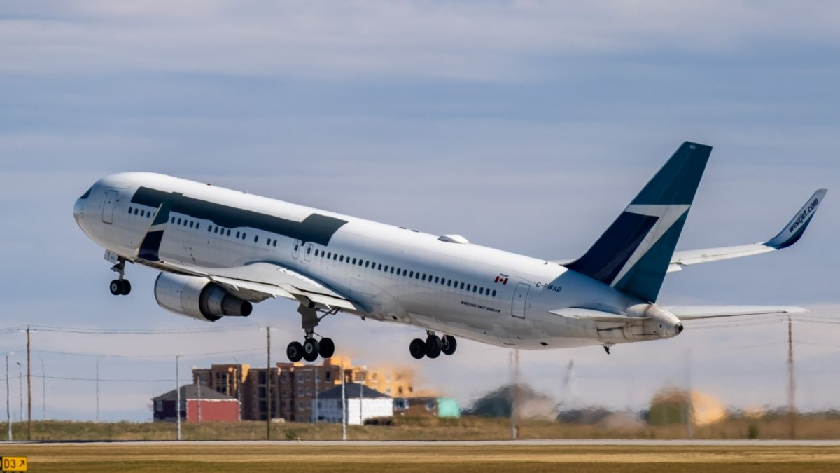 A former WestJet Boeing 767-300 takes off from Calgary's airport on Sept. 8, 2020 after being bought by Amazon.