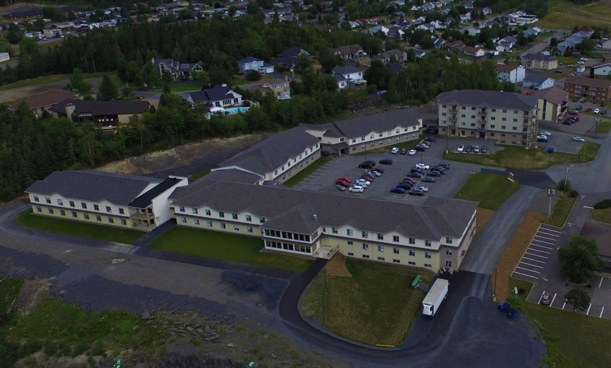 An undated aerial photo of Manoir Belle Vue Inc., in Edmundston, N.B.