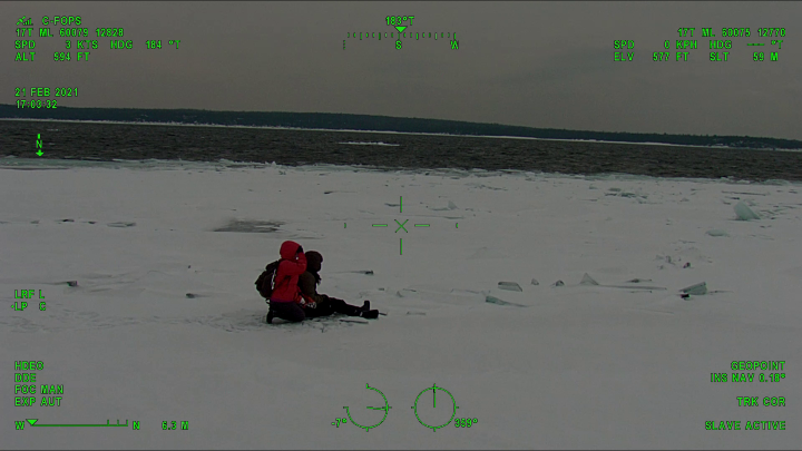 Emergency crews were called to the park on Cyprus Lake Road, near Tobermory, at 2:30 p.m., after two people walked on ice that broke away from the shoreline.