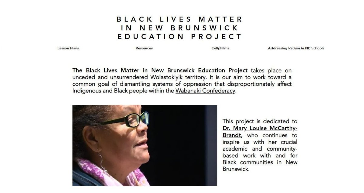 A screenshot of the Black Lives Matter in New Brunswick Education Project website is shown.