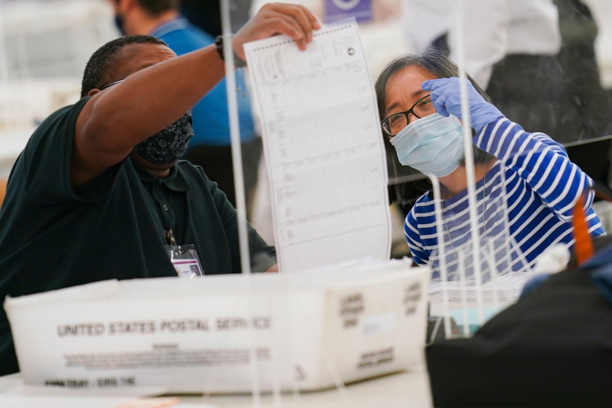 FILE - Polling workers inspect and count absentee ballots, Tuesday, Nov. 10, 2020, in New York.