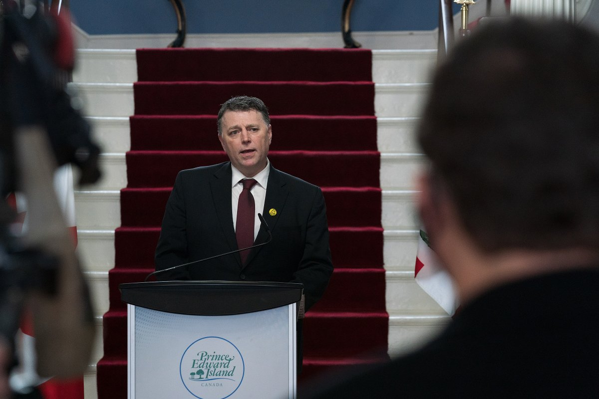 Prince Edward Island Premier Dennis King speaks after announcing a cabinet shuffle in Charlottetown, Thursday, Feb.4, 2021.