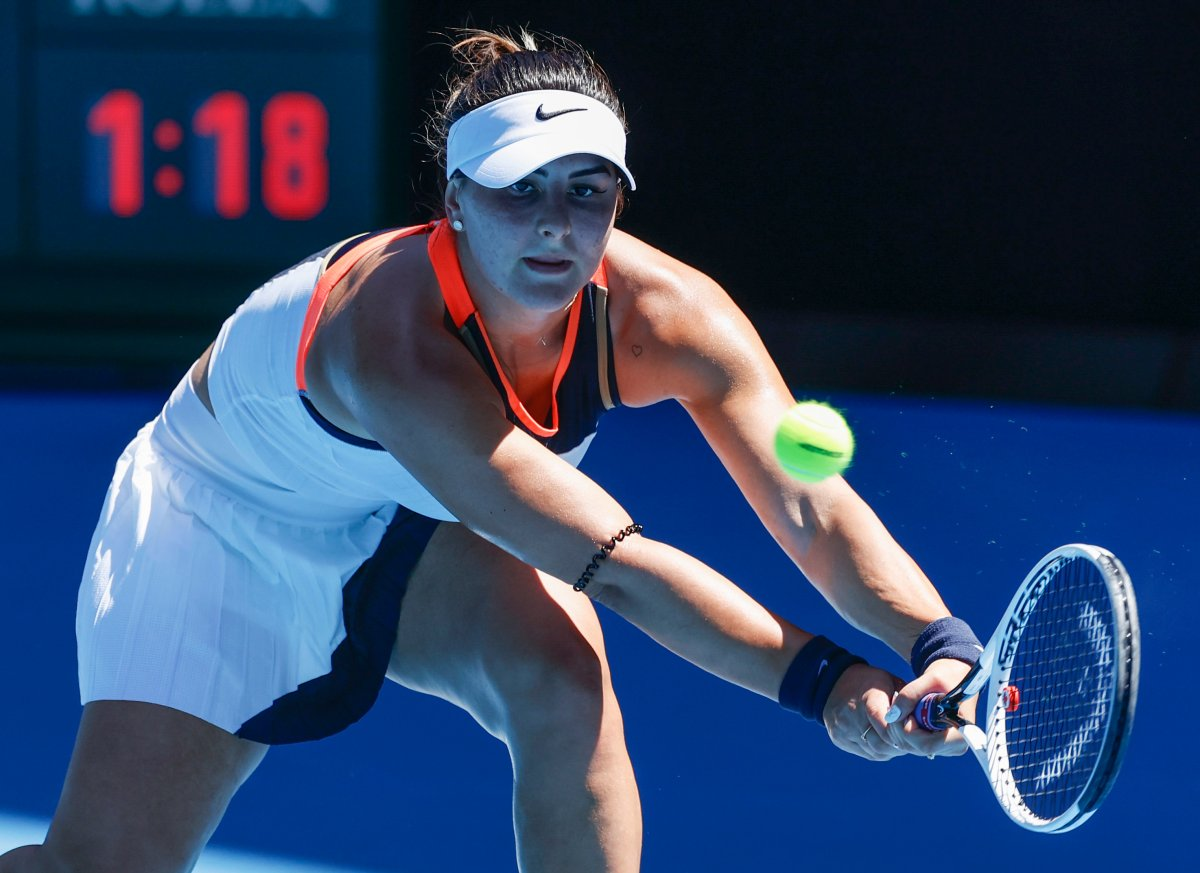 Canada's Bianca Andreescu makes a backhand return during her second round match against Taiwan's Hsieh Su-Wei at the Australian Open tennis championship in Melbourne, Australia, Wednesday, Feb. 10, 2021.