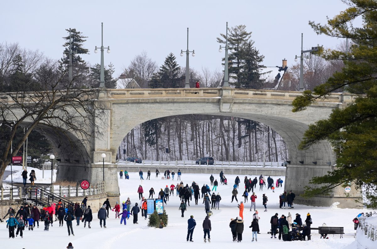 Skaters make their way along the Rideau Canal in Ottawa, Monday, Feb. 15, 2021, during the Family Day long weekend.
